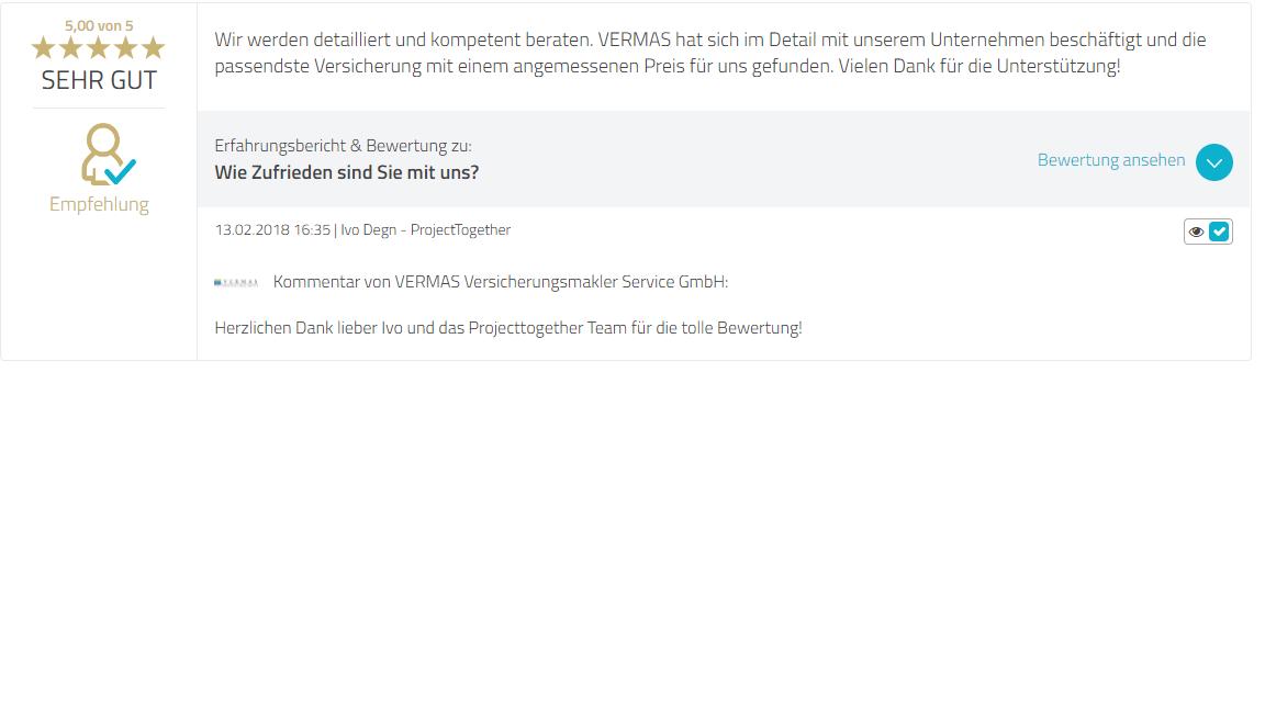 IVO Projecttogether Bewertungen VERMAS